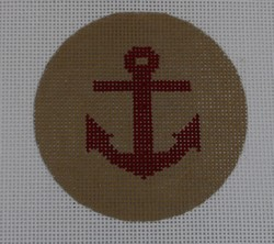 click here to view larger image of Anchor on Solid Background - Red/Khaki (hand painted canvases)