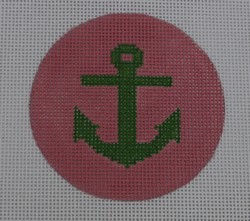 click here to view larger image of Anchor on Solid Background - Green/Pale Pink (hand painted canvases)