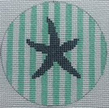 click here to view larger image of Starfish on Stripe - Navy/Seafoam (hand painted canvases)