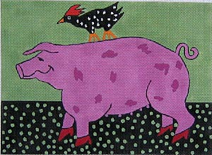 click here to view larger image of Pig and Rooster (hand painted canvases)