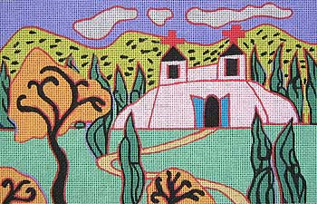 click here to view larger image of Church Landscape (hand painted canvases)