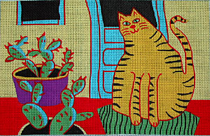 click here to view larger image of Cactus Cat (hand painted canvases)