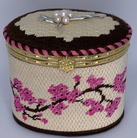 click here to view larger image of Cherry Blossoms Hinged Box w/Hardware (hand painted canvases)