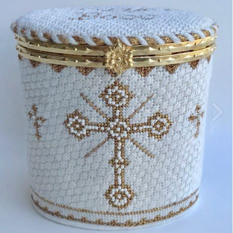 click here to view larger image of Prayer Hinged Box Beige w/Hardware (hand painted canvases)