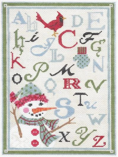 click here to view larger image of ABC Winter Sampler - Linen Background (hand painted canvases)