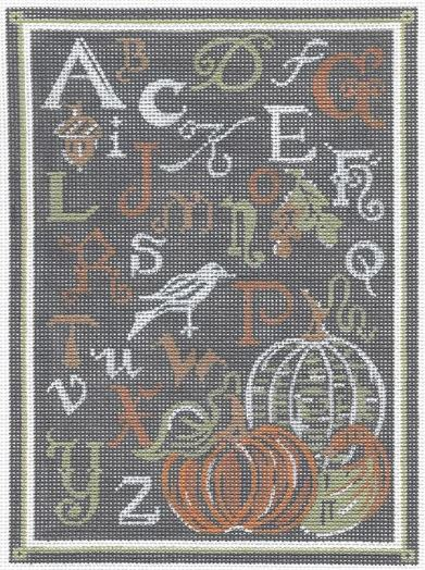 click here to view larger image of ABC Autumn Sampler - Chalk Background (hand painted canvases)