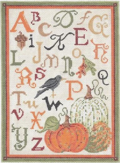 click here to view larger image of ABC Autumn Sampler - Linen Background (hand painted canvases)