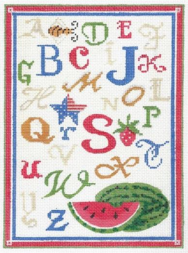 click here to view larger image of ABC Summer Sampler - Linen Background (hand painted canvases)
