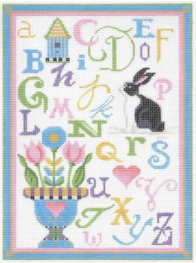 click here to view larger image of ABC Spring Sampler - Linen Background (hand painted canvases)