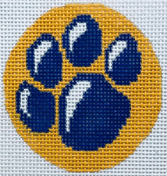click here to view larger image of Blue Paw Round (hand painted canvases)