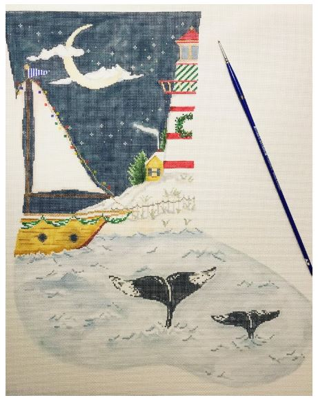click here to view larger image of Christmas in Newfoundland Stocking (hand painted canvases)