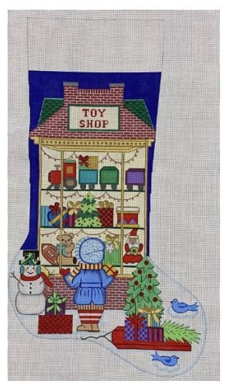 click here to view larger image of Christmas Stocking - Toy Shop w/Boy (hand painted canvases)