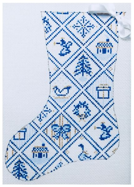 click here to view larger image of Blue/White Tiles Mini Stocking (hand painted canvases)