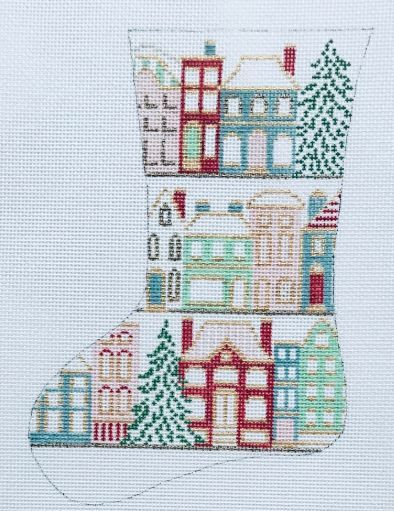 click here to view larger image of Christmastime in the City Mini Stocking (hand painted canvases)