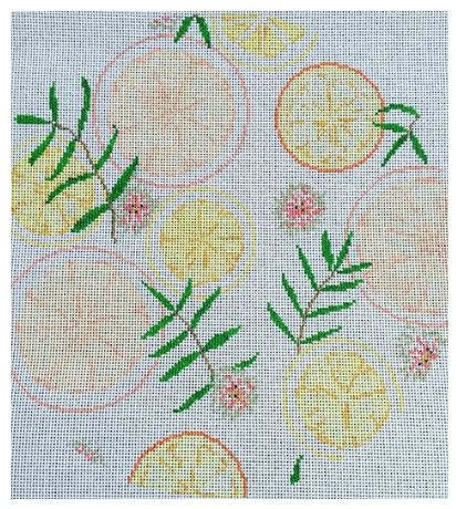 click here to view larger image of Citrus Round Pillow (hand painted canvases)