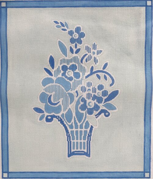 click here to view larger image of Bates Basket in Blue (hand painted canvases)