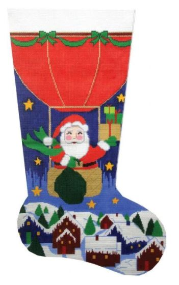 click here to view larger image of Balloon Santa Stocking (hand painted canvases)