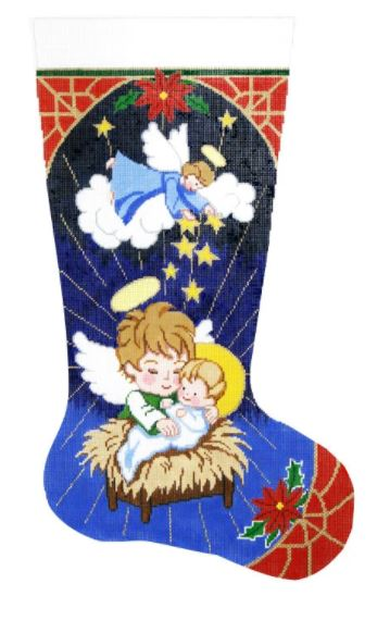 click here to view larger image of Angels and Manger Stocking (hand painted canvases)
