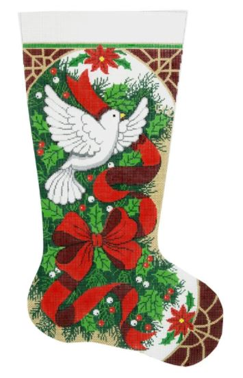 click here to view larger image of Christmas Holly and Dove Stocking (hand painted canvases)