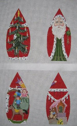 click here to view larger image of Red Four Sided Stand Up Santa (hand painted canvases)