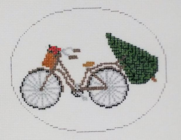 click here to view larger image of Bike w/Tree and Poinsettias (hand painted canvases)
