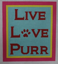click here to view larger image of Live Love Purr (hand painted canvases)