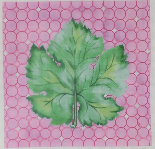 click here to view larger image of Botanical - Single Leaf on Pink Ring Pattern (hand painted canvases)