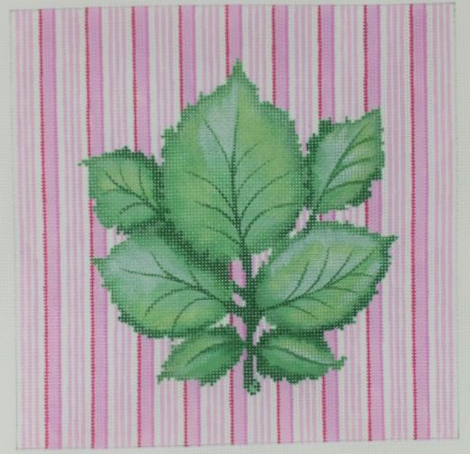 click here to view larger image of Botanical - Leaf Cluster on Pink Stripes (hand painted canvases)