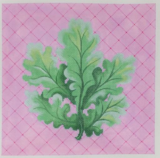 click here to view larger image of Botanical - Curvy Leaves on Pink (hand painted canvases)