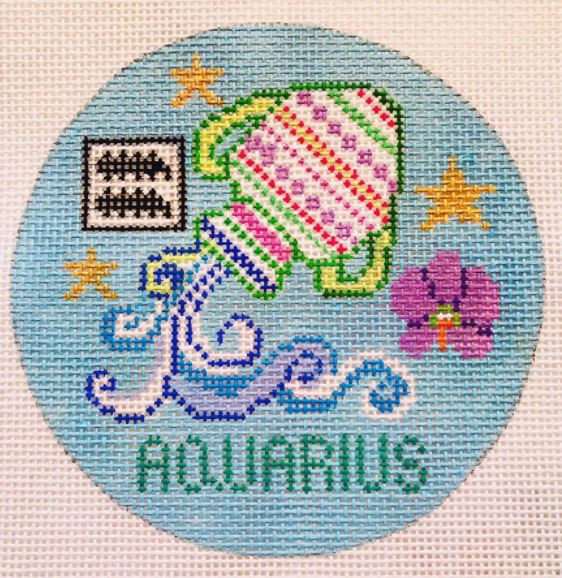 click here to view larger image of Zodiac Collection - Aquarius (hand painted canvases)