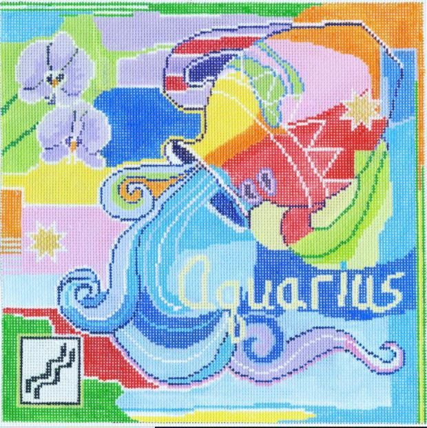 click here to view larger image of Zodiac - Aquarius (hand painted canvases)