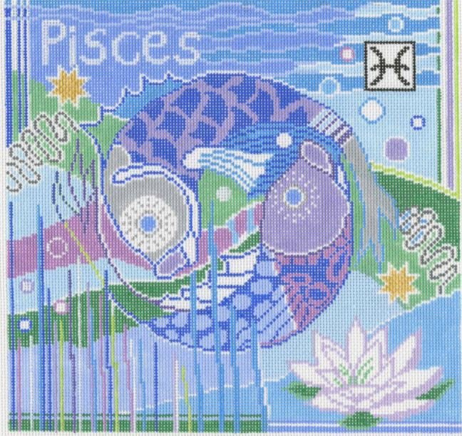 click here to view larger image of Zodiac - Pisces (hand painted canvases)