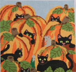 click here to view larger image of Cats Pumpkin Patch  (hand painted canvases)