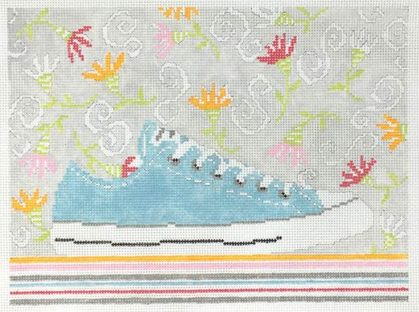 click here to view larger image of Aqua Sneaker and Funky Flowers (hand painted canvases)