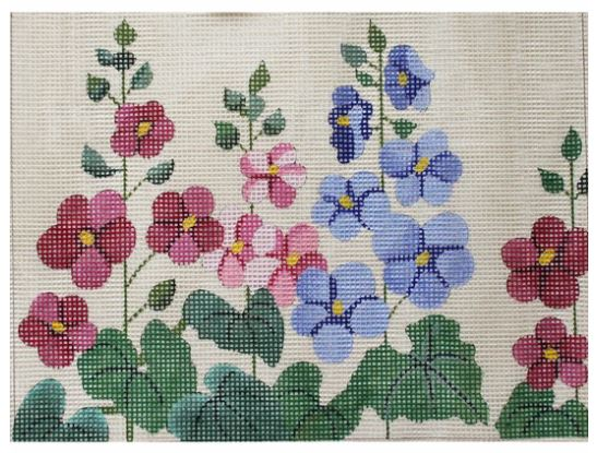 click here to view larger image of Hollyhocks - Easy Stitch (hand painted canvases)