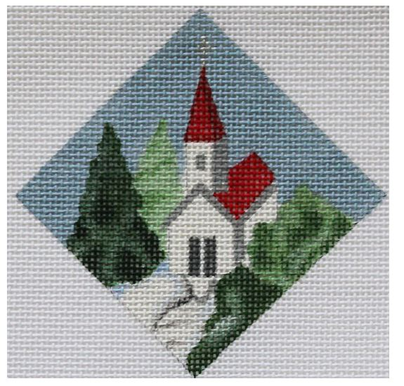 click here to view larger image of Church - Diamond Ornament (hand painted canvases)