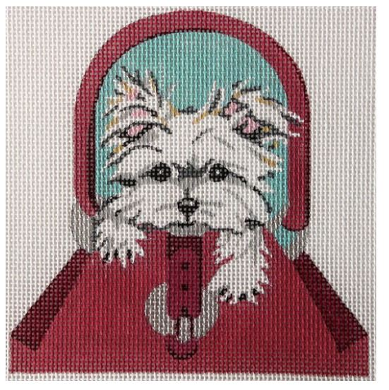 Maltese Puppy in Burgundy Purse - click here for more details