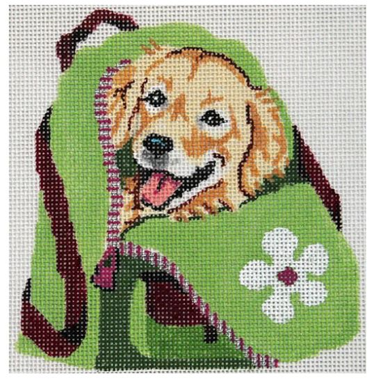 click here to view larger image of Golden Retriever Puppy in Back Pack (hand painted canvases)
