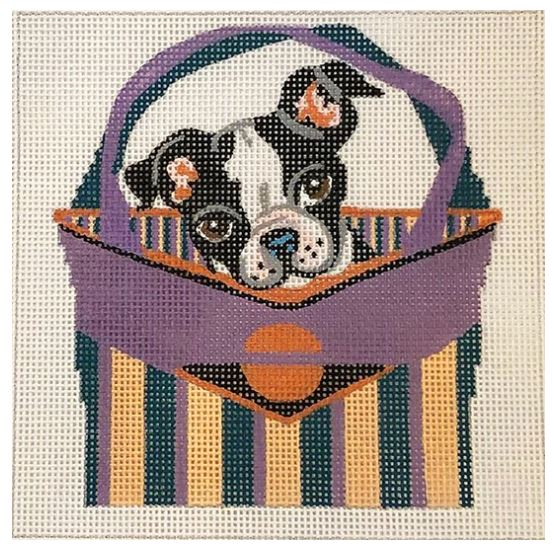 click here to view larger image of Boston Terrier Puppy In Basket (hand painted canvases)