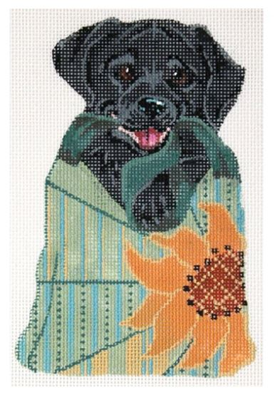click here to view larger image of Black Labrador In Sunflower Bag (hand painted canvases)