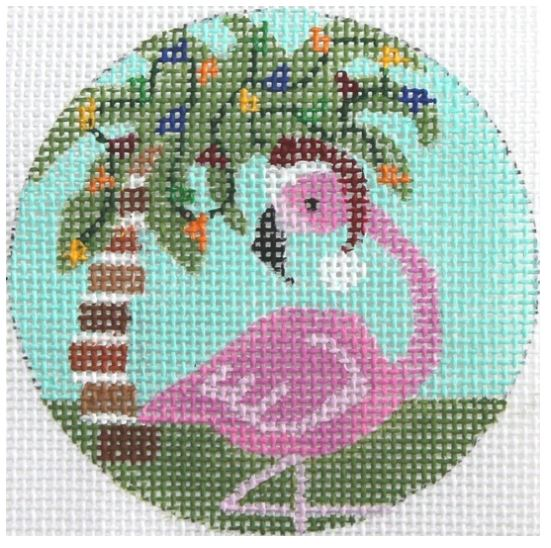click here to view larger image of Flamingo w/Palm Tree Ornament (hand painted canvases)