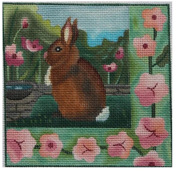 click here to view larger image of Garden I Bunny (hand painted canvases)
