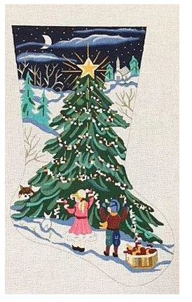 click here to view larger image of Decorating the Tree Stocking (hand painted canvases)