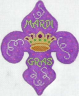 click here to view larger image of Mardi Gras Mini - Mardi Gras Fleur-de-Lys w/Crown  (hand painted canvases 2)