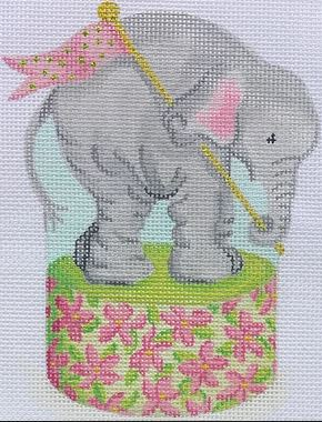 click here to view larger image of Baby Elephant on Floral Drum (January)  (hand painted canvases 2)