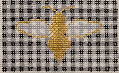 click here to view larger image of Bee and Gingham (hand painted canvases)