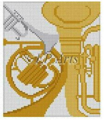 click here to view larger image of Brass Instruments (hand painted canvases)