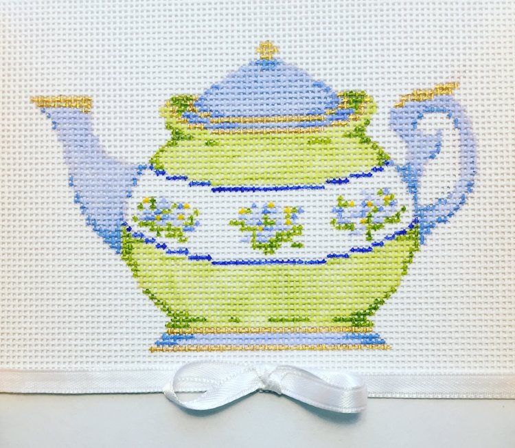 click here to view larger image of Blue and Green Teapot (hand painted canvases)