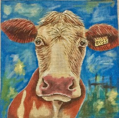 click here to view larger image of Bossy the Cow (hand painted canvases)