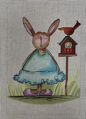 click here to view larger image of Rabbit w/Bird (hand painted canvases)